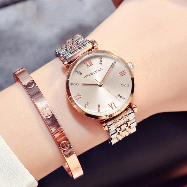 Hot Simple Watches Women steel Fashion Watch Diamond Casual Ladies Wrist Watch 2