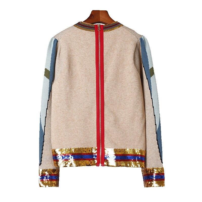 Broderie Tricot Nouveau 2018 D'hiver Pull Khaki Femmes Vintage Joydu Jumper Rayures Designer Perroquet Chandail Paillettes Casual Animal qW0AI8wE