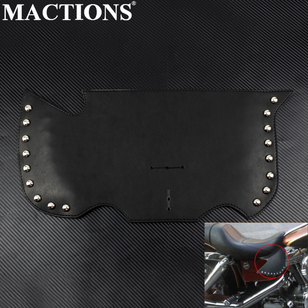 Motorcycle Black Leather Heat Saddle Shield Deflectors Raised Studs For Harley Touring Softail For Suzuki For Kawasaki For Honda