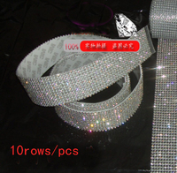 Garment Trimming 10 Rows Hot Fix3mmrhinestone Trimming Rhinestone Mesh Banding With Glue 10rows 1 2meters Pcs