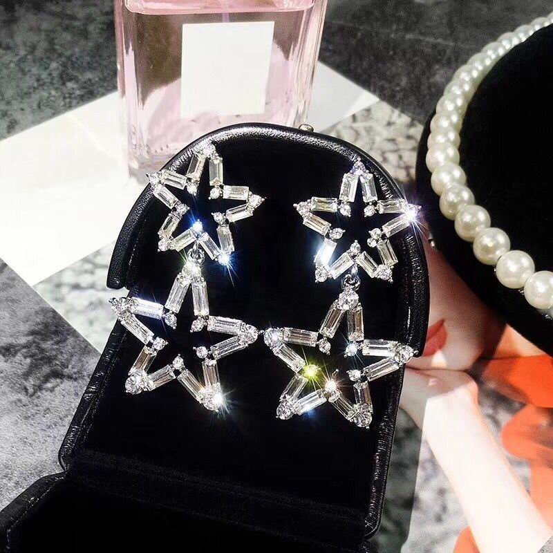 Luxury Big Star Drop Earrings For Women 19 New Rhinestone Party Statement Earrings Lucky Jewelry Korean Style 3