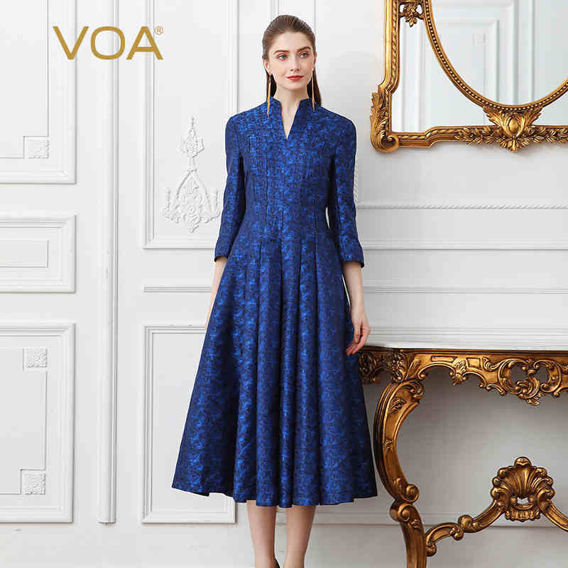 VOA 2018 Spring Navy Blue Vintage Plus Size High Waist Slim Silk Party Dress Heavy Silk Jacquard Women Tunic Long Dress A131