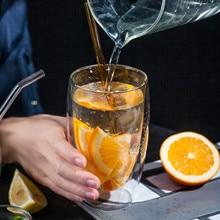 Термостойкая двухслойная прозрачная стеклянная чашка Толстая кофейная кружка для сока молока вина чашки высокого качества боросиликатные стаканы