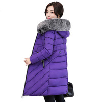Winter Down Cotton Coat Women 2018 Thick Warm Winter Slim Jackets Female Fur Collar Hooded Parka