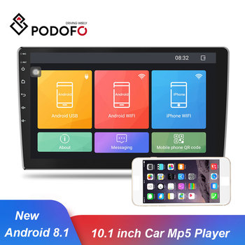 Podofo Android 8.1 Car Multimedia Player 10.1 GPS Navigation Car radios 2 Din Bluetooth WIFI Autoradio MP5 Player Audio Stereo image