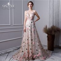 QSYYE 2019 Vintage Long Prom Dresses Robe de Soiree 3D Floral Flowers Sexy V Neck Beaded Formal Evening Dress Party Gown