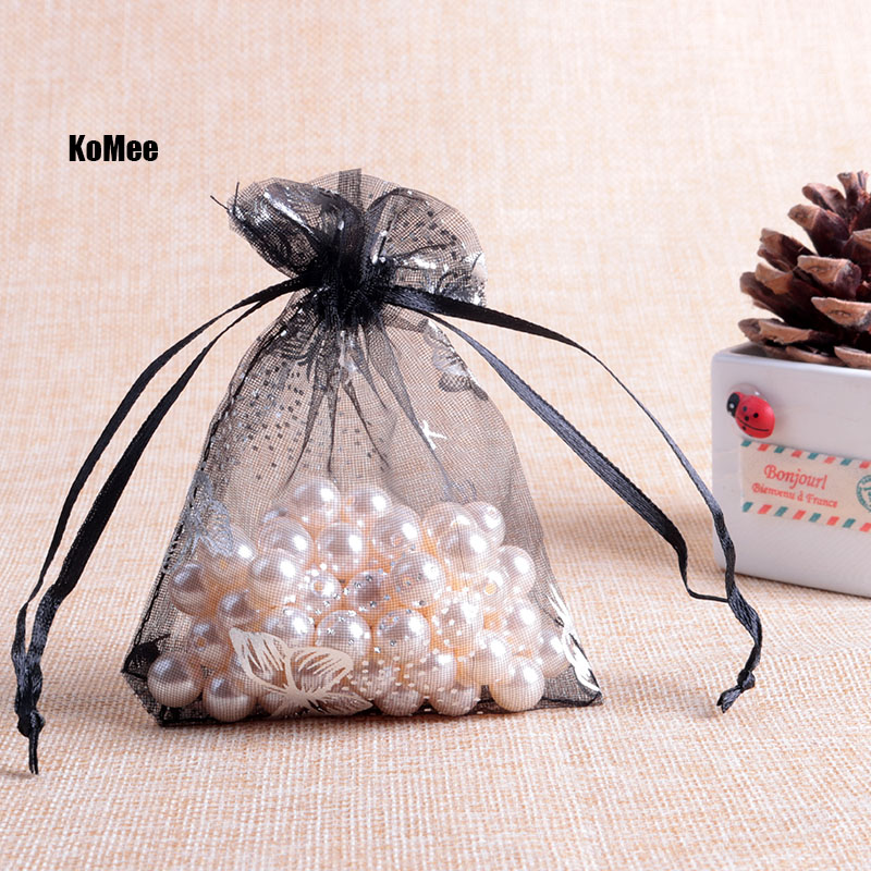 Organza Bag 1000pcs Christmas Wedding Gift Jewelry Packaging Pouches 7 9cm Butterfly Printing Drawstring Bags Custom Brand Logo in Jewelry Packaging Display from Jewelry Accessories