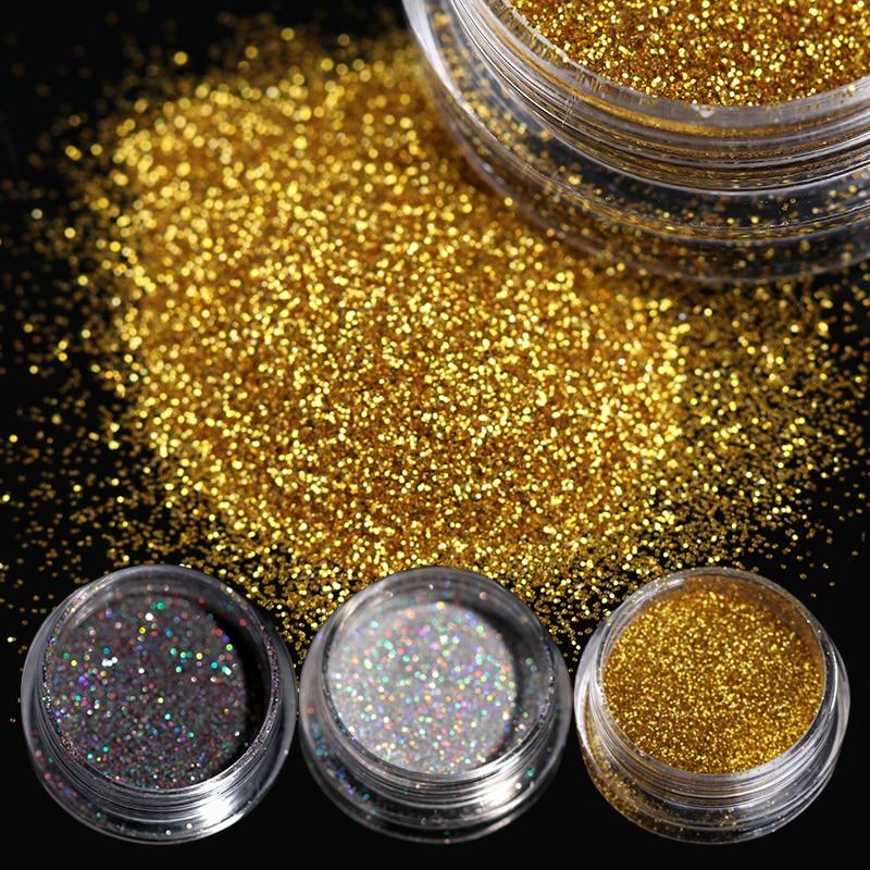 BORN PRETTY 1g/Box nail Glittering Powder Shining Sugar Silver Black Nail Glittery Powder Nail Art Decoration Pigments 8 Colors