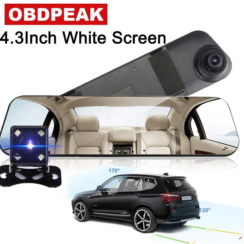 Auto DVR Dual Lens Volle HD 1080 p Dash Cam Weiß Rückspiegel Auto Kamera Video Recorder Mit rückansicht DVR Auto Registrator