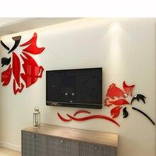 Relieve Gran Flor Regalos de Acrílico de la pared de fondo Sala de estar En Casa Decorar DIY Tree 3D Etiqueta Casera Decoración Colorida