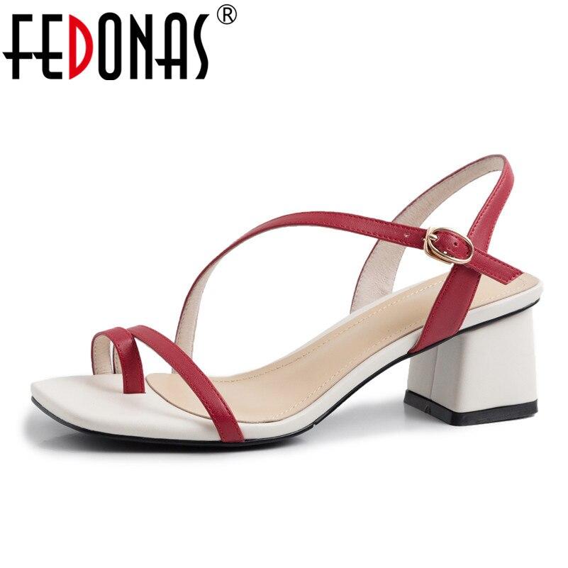 FEDONAS 2019 New Fashion Sweet Women Sandals Genuine Leather High Heels Summer Prom Night Club Shoes