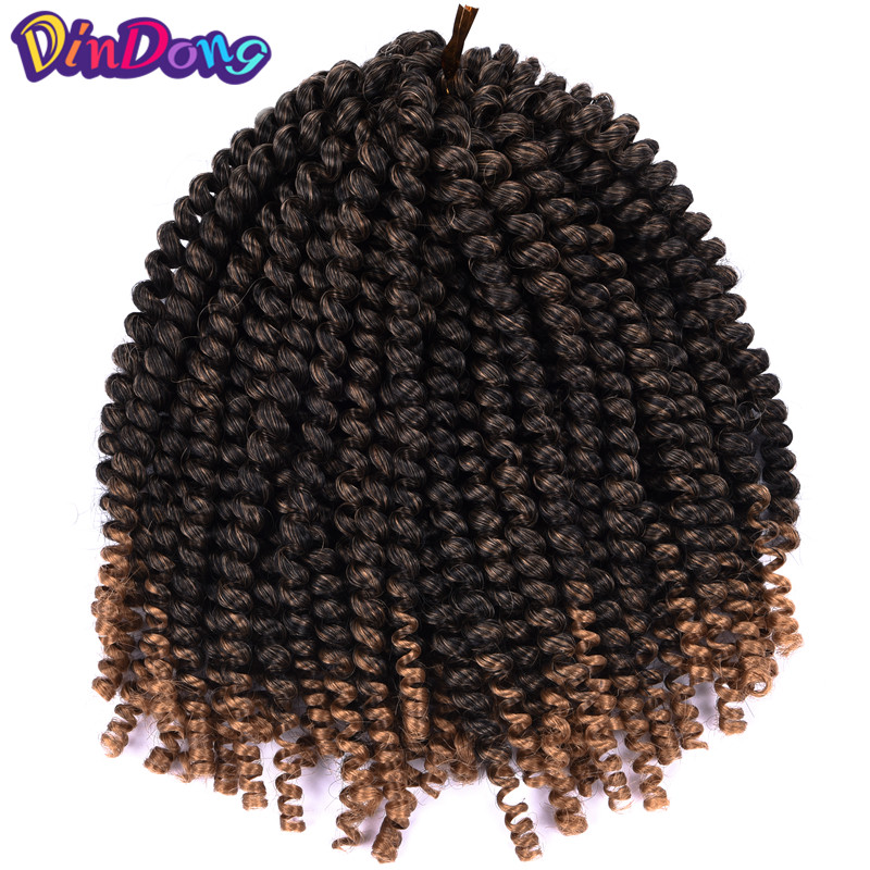 DinDong Crochet Braids Ombre Spring Twist Hair For Women 8 inch Synthetic Kanekalon Hair ...