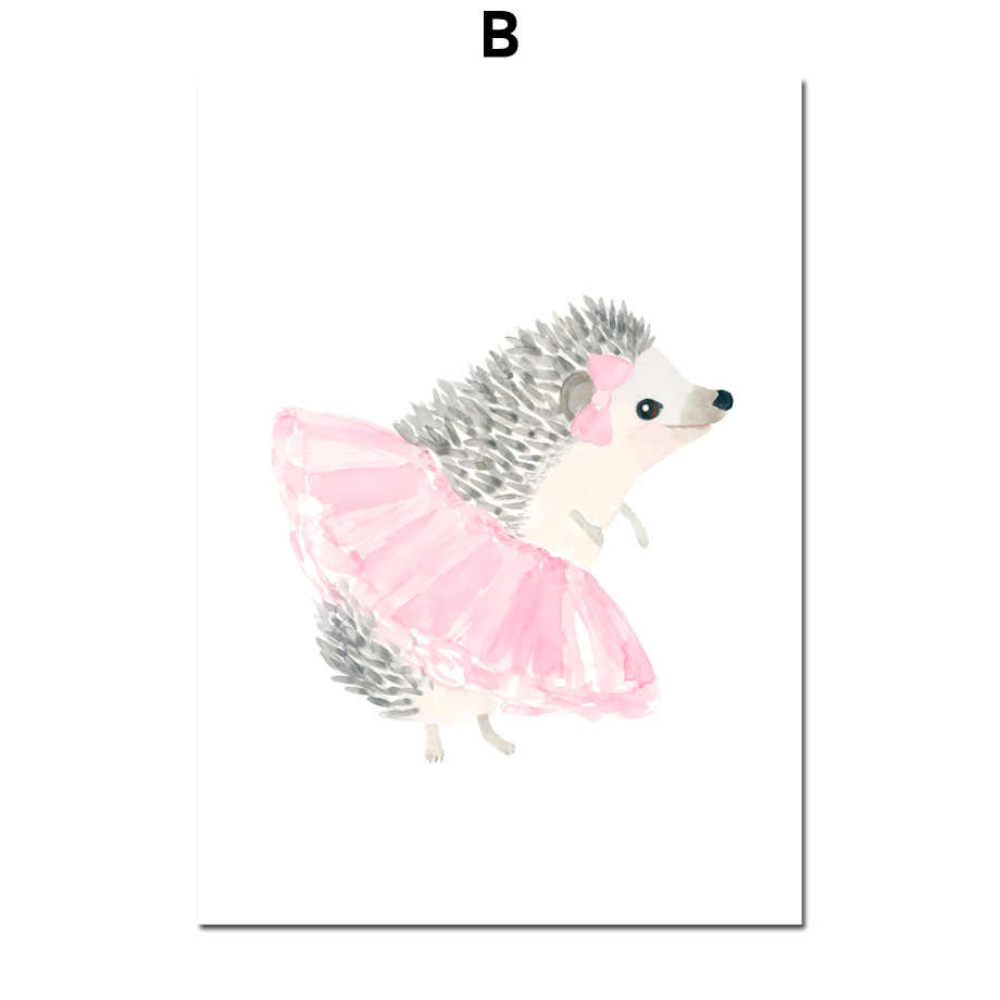 Hedgehog Pink Skirt Wall Art Picture Watercolor Animals Canvas Painting Nordic Style Posters And Prints Nursery Baby Room Decor