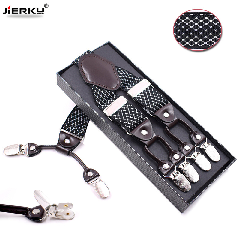 JIERKU Suspenders Man's Braces 6Clips Suspensorio Tirantes Elasticity Trousers Strap Father/Husband's Gift 3.5*120cm JK6C0822