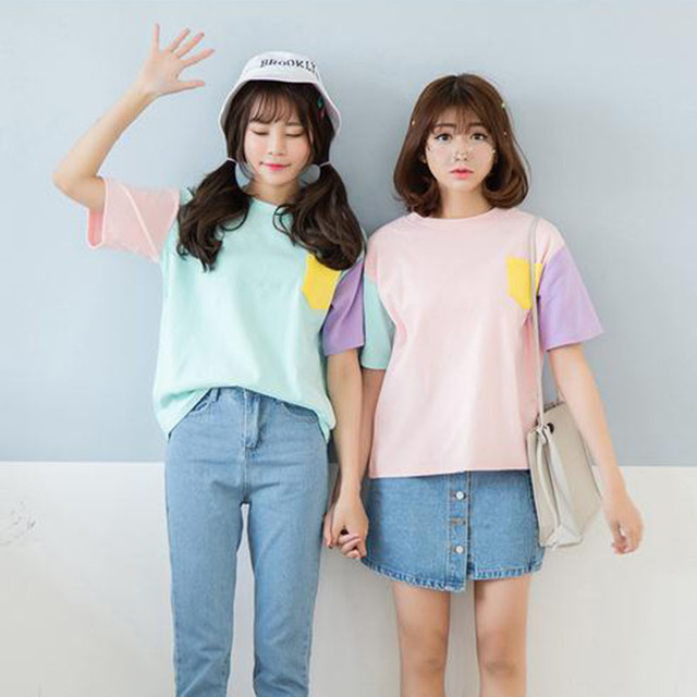 2017 Summer Style Fashion Harajuku Women T Shirts Kawaii Cotton Short Sleeve Tshirts Ladies Cute Tops Tee Top Pink Shirts by Liva Girl