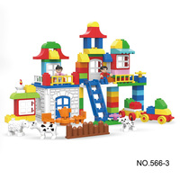 106pcs Big Building Block Girl Castle Zoo Animal Model Diy Eudcational Brick Set Kids Toys Compatible With Legoing Duplo Gift