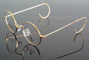 Image 4 - 42 мм маленький размер, винтажное круглое антикварное украшение с проволокой, оправа для очков, металлическая оправа, золотистого цвета, полная оправа, очки для близорукости