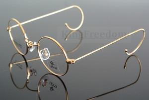 Image 4 - 42mm גודל קטן בציר עגול עתיק חוט רים מתכת משקפיים מסגרות זהב Gunmetal שפה מלאה משקפיים קוצר ראיה Rx מסוגל