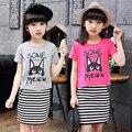 Grande conjunto de roupas menina 110-170 cm criança do sexo feminino de verão one piece-dress + stripe curto-luva saia roupas twinset 2016 infantil