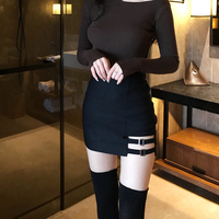 2019 Korean Style Black Package Hip Saia Skirts Gap Irregular Hem Pencil Micro Mini Skirt Large size