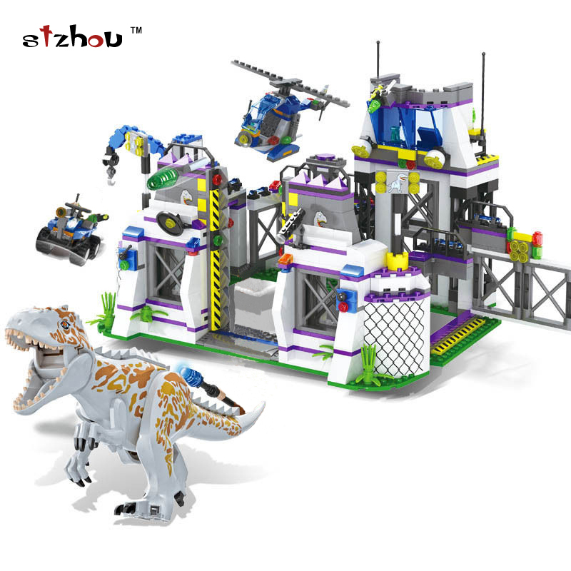 Stzhou 8000 Jurassic World Park Dinosaurs Base Tyrannosaurus Escape Building Blocks Bricks Toys For kids Christmas Gift 2 sets jurassic world tyrannosaurus building blocks jurrassic dinosaur figures bricks compatible legoinglys zoo toy for kids