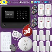 Golden Security WIFI 2G 3G GSM Wireless Home Security Alarm System RFID Keyboard Smoke Detector IP