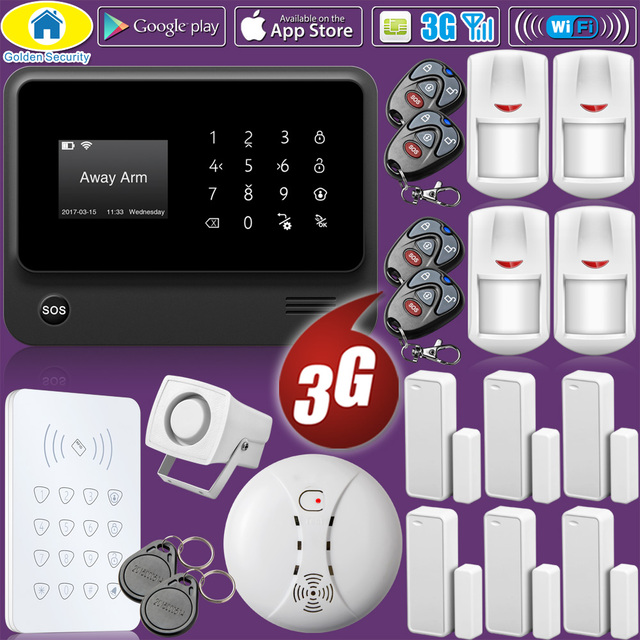 Best Price Golden Security WIFI 2G 3G GSM Wireless Home Security Alarm System RFID Keyboard Smoke Detector IP Camera Language Switchable