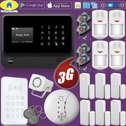 Oro di Sicurezza WIFI 2G 3G GSM di Sicurezza Domestica Senza Fili Sistema di Allarme RFID Tastiera Rivelatore di Fumo Macchina Fotografica del IP di Lingua commutabile