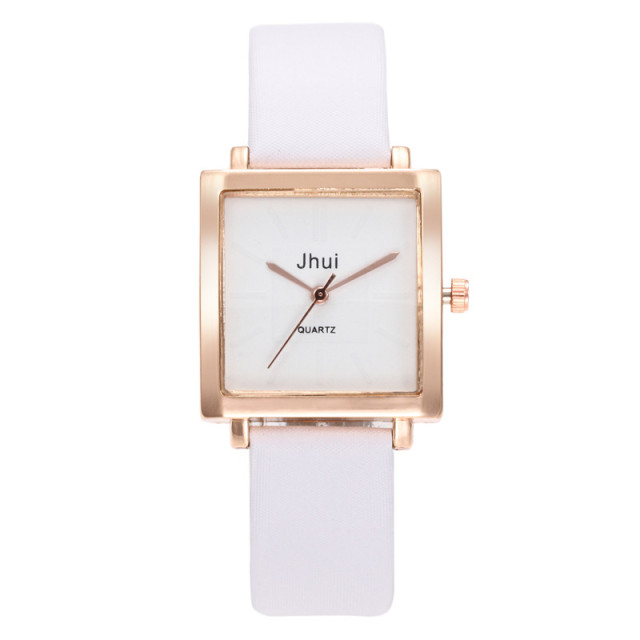 Square Ladies Watch Casual Female Leather Quartz Wrist Watch Rose Gold Women Wat