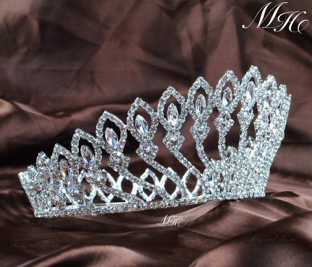 Crowns full circle round tiaras rhinestones crystal wedding bridal - Aliexpress Com Buy Floral Full Round Wedding Bridal Crown Tiara Flowers Headband Austrian Rhinestone Crystal Pageant Party Costumes Accessories From