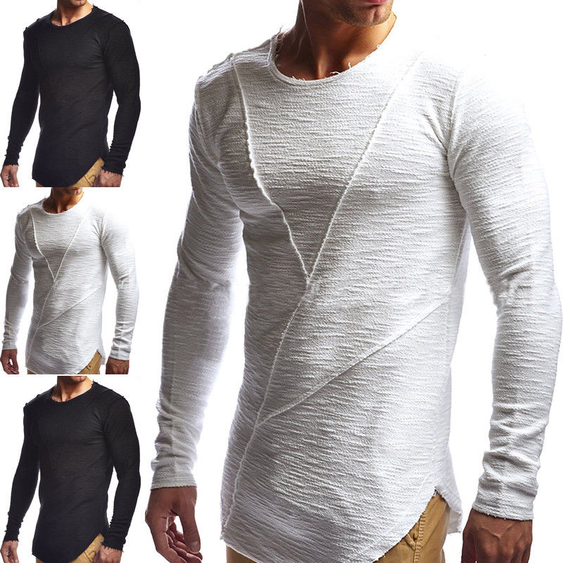 Новейшие Модные Для мужчин пикантные рубашка с длинными рукавами с круглым вырезом Повседневное Slim Fit Футболка черный, белый цвет Цвета