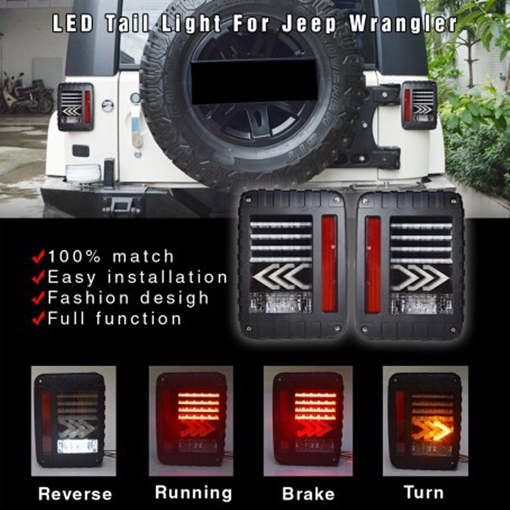 Wrangler Rear LED Lights, Wrangler LED Tail Lights, Brake Light LED, LED Reverse Lights For Jeep JK JKU 07 - 16 newest design led tail light black with smoke lens led tail light for jee p wrangler jk jku 2007 2016