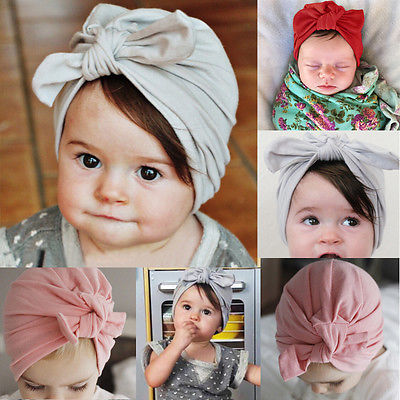 Fashion Newborn Infant Toddler Kid Baby Boy Girl Turban Bowknot Soft Cotton Bunny Beanie Hat Cap Pink Gray Red Photo Props -6T цена в Москве и Питере