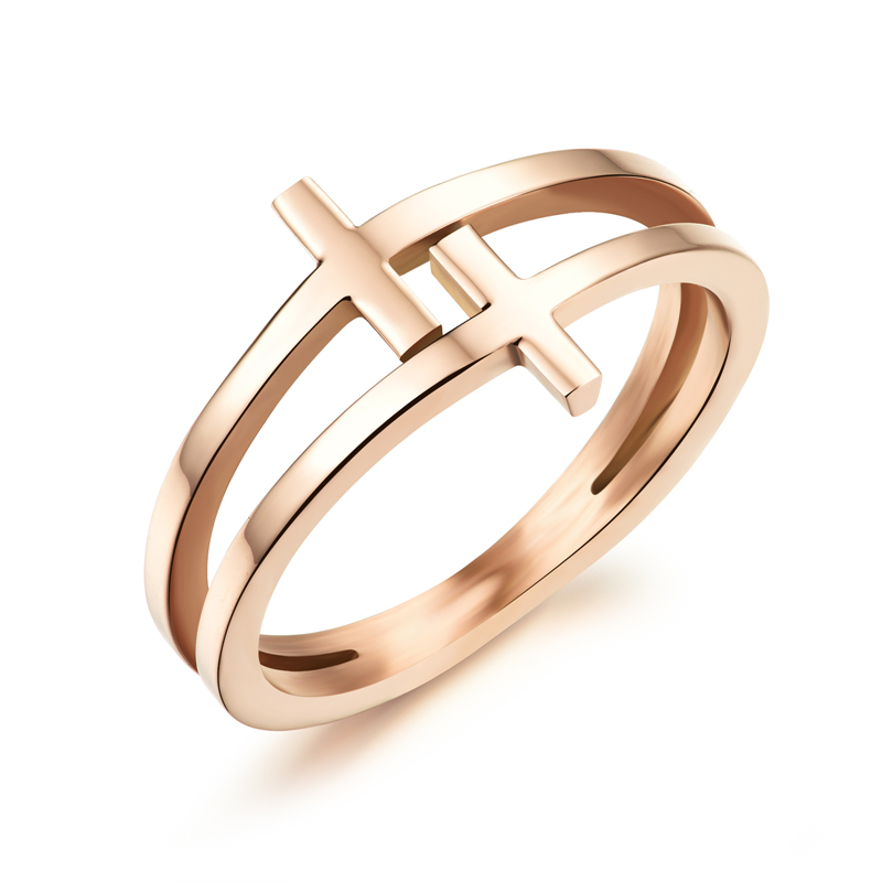 Double Layer Cross Rings For Woman Fashion Anti-allergy Rings plated Rose Gold Color Finger Rings Stainless Steel Jewelry