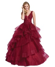 New Sleeveless tulle ball gown with lace and heat set stone bodice V neckline Tiered Tulle