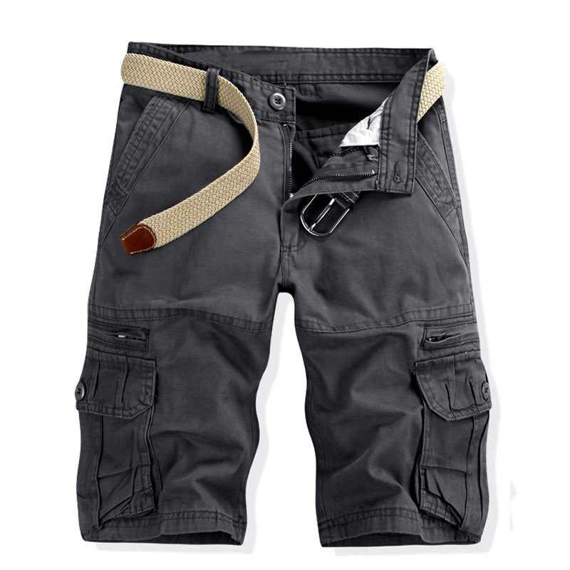 GEJIAN verano hombres de moda sólido overoles deportes al aire libre suelto más el tamaño cinco puntos Shorts Bermuda Masculino Casual Shorts hombres