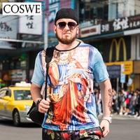 COSWE 6XL Plus Size 3D Print Male Shirt Men Tshirt Fashion Short Sleeved Brand T Shirts