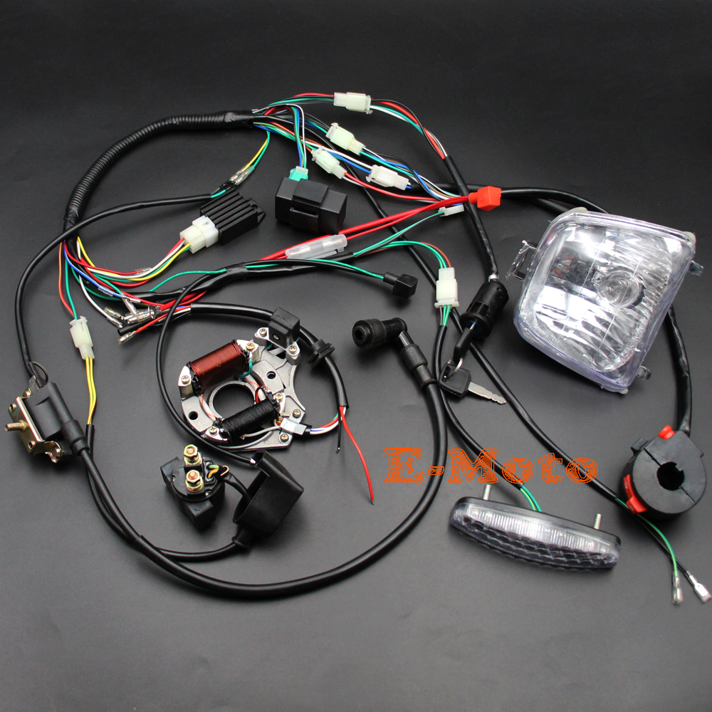 110cc Atv Parts Full Electrics Wiring Harness Cdi Coil Quad 50 And 70 Diagram Loom Regulator Magneto Lights Key Switch 50cc 70cc 90cc 125cc