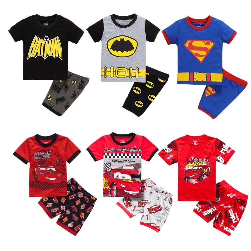 2019 Children's   pajamas     set   summer kid soft home clothing boy's short sleeve breathable children's 100% cotton sleepwear suit