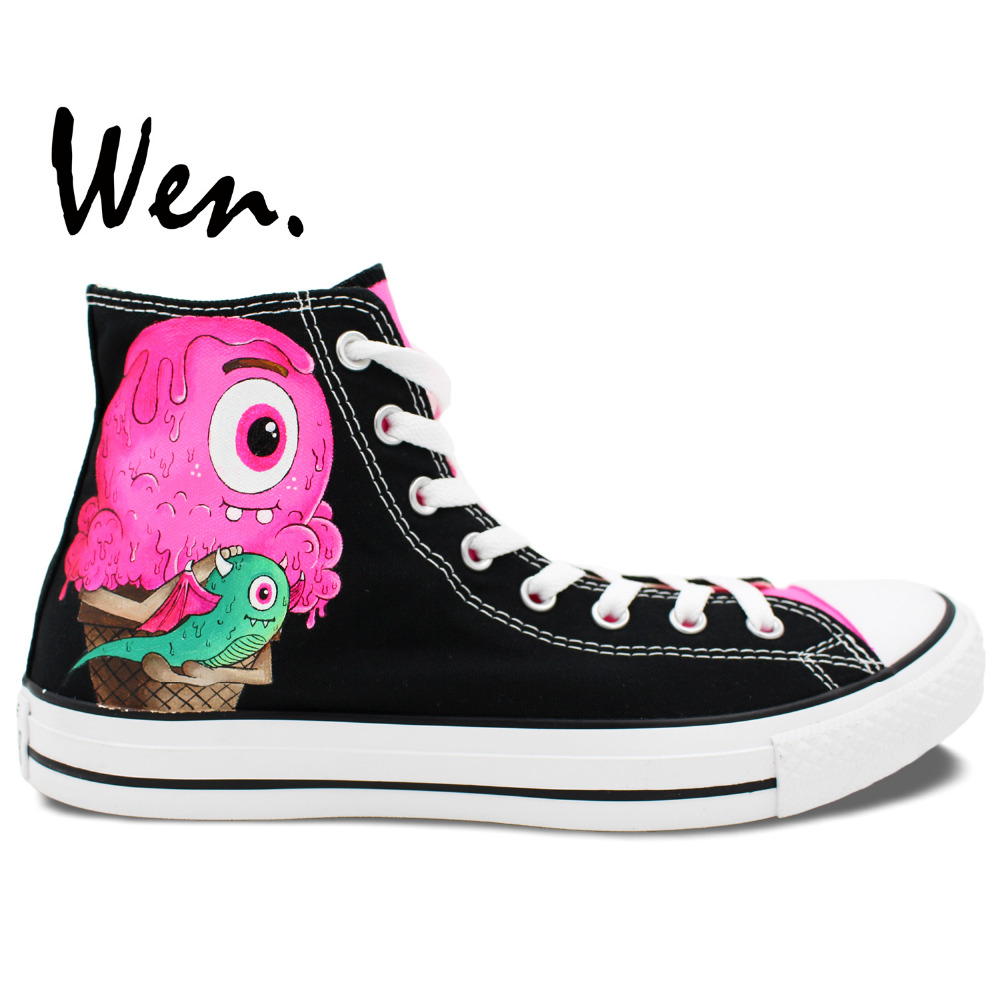 a68b73bcb74e Wen Original Design Custom Hand Painted Shoes Ice Cream Monster Color High  Top Men Women s Black Canvas Sneakers