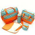 5 pcs/ set New Multifunctional Travel Nappy Bag Dot Baby Diaper Mummy Mother Bags 5 in 1 Baby Carriage Storage Bags Car Seat Bag