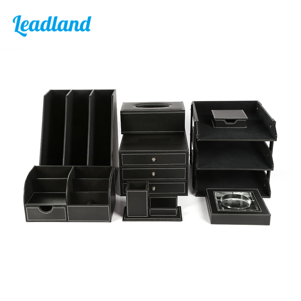 Deluxe Office Desktop 8-piece Set Pen Pencil Holder File Rack Stationery Organizer Box Tissue Dispenser Ashtray T01 Black/Brown carb environmetal diy creative office desktop wood stationery holder 4 layer a4 file organizer clips holder desktop file tray