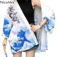 NiceMix Japanese Style Loose Digit Cartoon Print Kimono Women Blouse Cardigans 2019 Summer Shirt Femme New