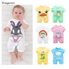 Коллекция года, Летние Боди для малышей возрастом от 0 до 24 месяцев, боди с короткими рукавами для малышей, Одежда для новорожденных мальчиков и девочек хлопковый костюм для младенцев, костюм с героями мультфильмов