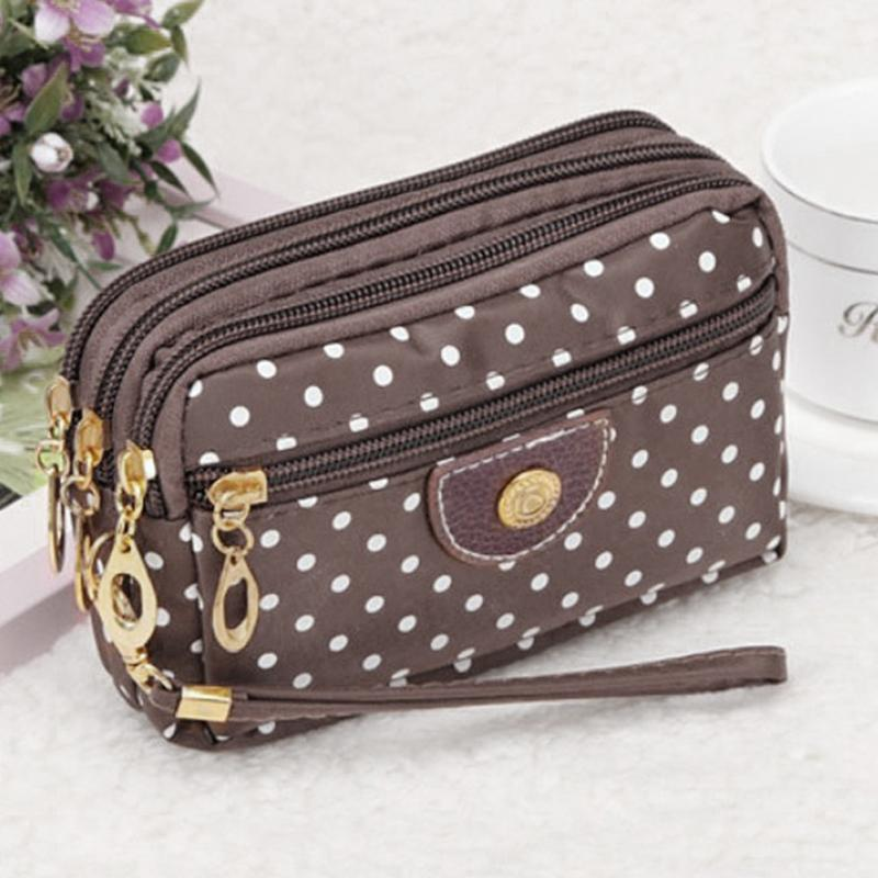Polka Dots Print Women Girls Coin Purse Clutch