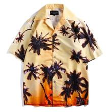 Hawaii Beach Shirts Coconut Tree Print Men Hot Summer Hawaiian Aloha Party Holiday Short Sleeve Shirt Male Tops