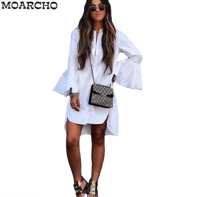 Women White Flare Sleeve Shirt Dress