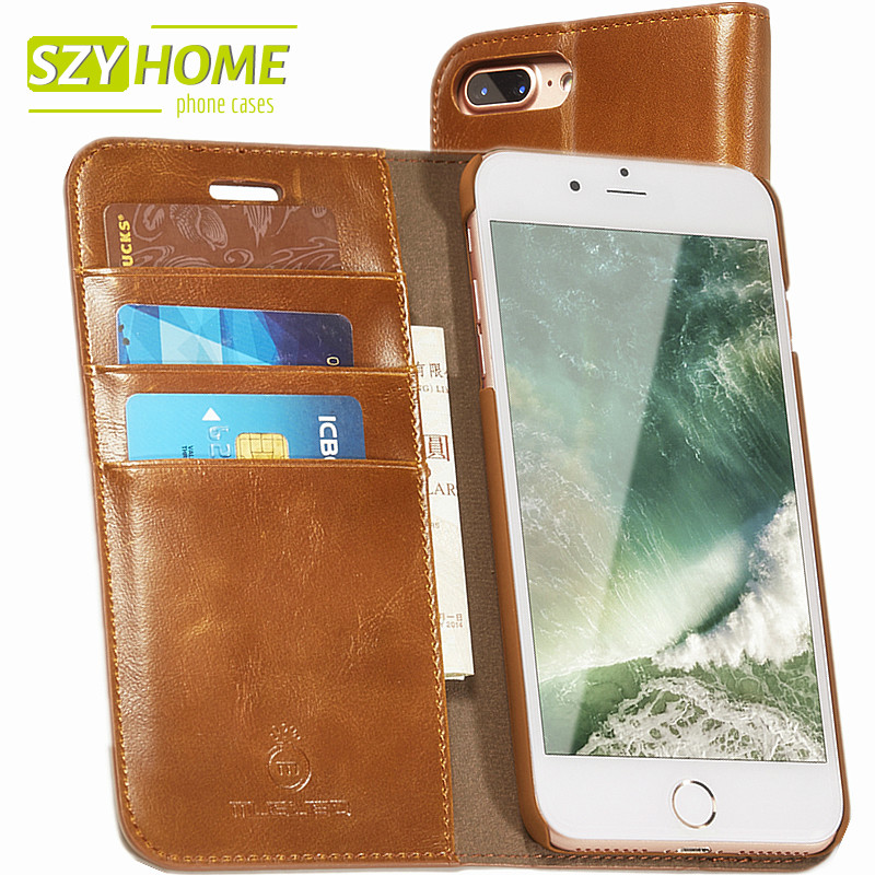 imágenes para SZYHOME Phone Cases For iPhone 5 5s 6 6s 7 Plus Luxury Retro Leather Wallet Flip Card Holder For iPhone 7 Cover Case Capa Coque