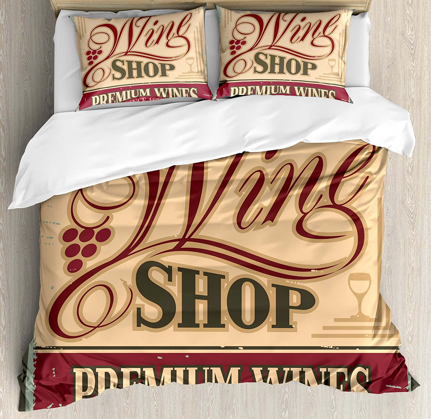 Vintage Duvet Cover Set, Vintage Rusty Metal Pop Art Style Sign for Wine Shop Past Time Adds Bohemian Decor, 4 Piece Bedding Set