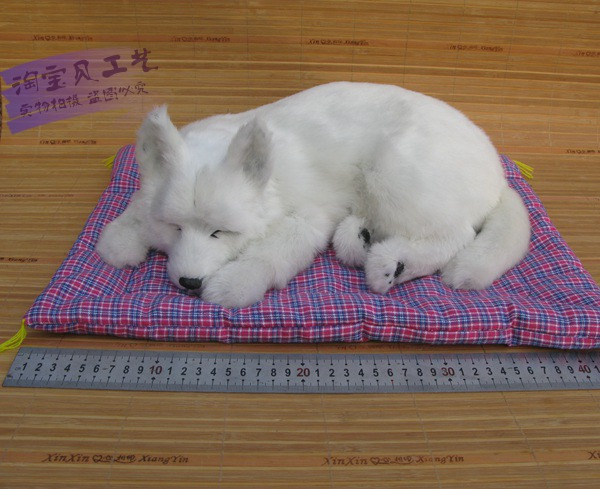 big creative simulation sleeping toy polyethylene&fur white dog model gift about 37x23x14cm 1684 creative simulation comadreja toy polyethylene